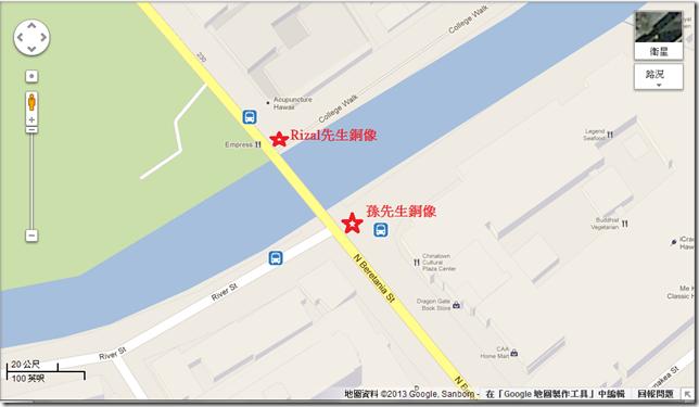 銅像位置的地圖